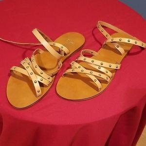 J. Crew Cross Strap Sandals Studded Leather